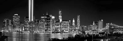 New York City Bw Tribute In Lights And Lower Manhattan At Night Black And White Nyc Art Print by Jon Holiday