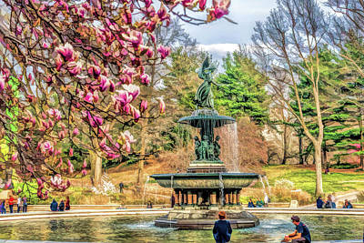 Painting - New York City Central Park Bethesda Fountain Blossoms by Christopher Arndt