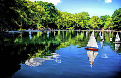 Painting - New York City Central Park Sailboats by Christopher Arndt