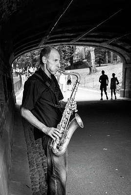 Photograph - New York City Central Park Saxophone Musician by Ranjay Mitra