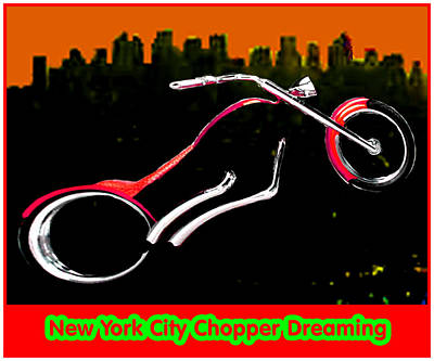 New York City Chopper Dreaming Red Jgibney The Museum Zazzle Gifts Fa Art Print by The MUSEUM Artist Series jGibney