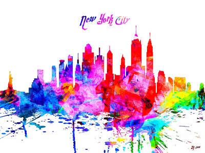 Skylines Mixed Media - New York City Colorful Skyline by Daniel Janda