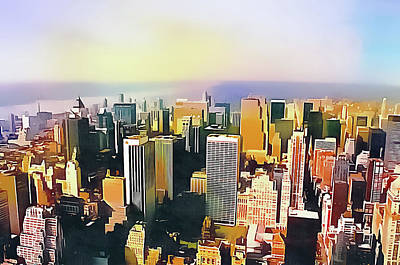 Digital Art - New York City Colourful Aerial View by Dorothy Berry-Lound