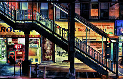 Painting - New York City Elevated Subway Stairs by Christopher Arndt