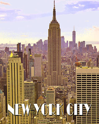 Photograph - New York City Poster - Empire State Building by Art America Gallery Peter Potter