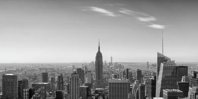 Photograph - New York City - Empire State Building Panorama Black And White - 2015 Edition by Thomas Richter