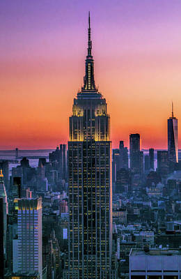 Painting - New York City Empire State Building Sunset by Christopher Arndt