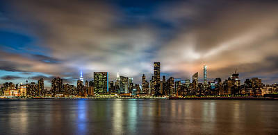 Photograph - New York City Evening Skyline  by Rafael Quirindongo