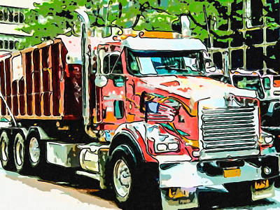 Painting - New York City Fire Truck by Jeelan Clark