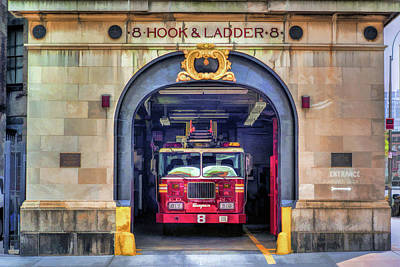 Painting - New York City Firehouse Company 8 by Christopher Arndt