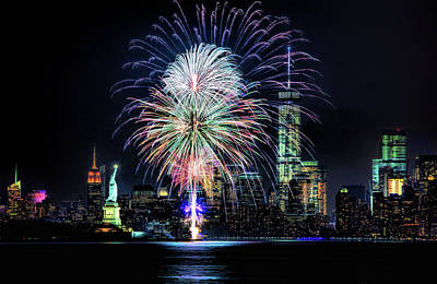 Painting - New York City Harbor Fireworks by Christopher Arndt