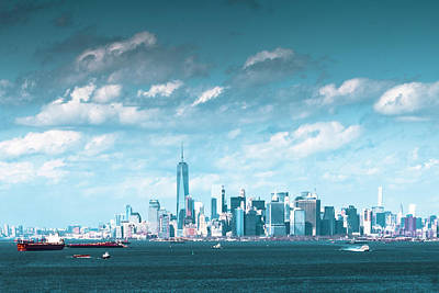 Photograph - New York City Harbor With Clouds by Kenneth Cole