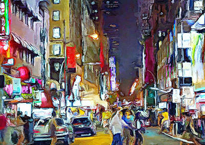 Digital Art - New York City Impressions Night Street by Yury Malkov