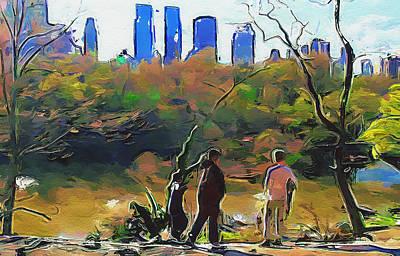 Digital Art - New York City Impressions Park by Yury Malkov