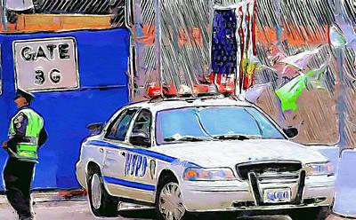 Digital Art - New York City Impressions Police by Yury Malkov