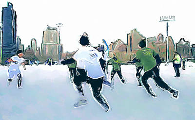 Digital Art - New York City Impressions Snow Game by Yury Malkov
