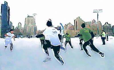Digital Art - New York City Impressions Snow Game by Yury Malkov
