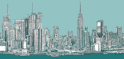 Empire State Building Drawing - New York City In Blue-green by Building  Art
