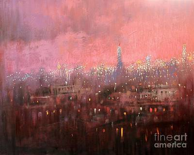Painting - New York City In Twilight by Chin H  Shin