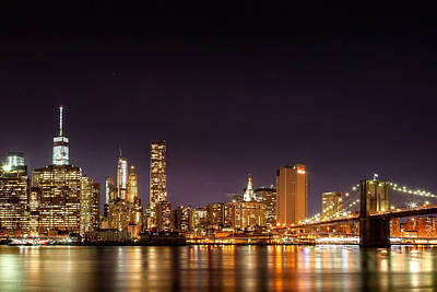 Futuristic Photograph - New York City Lights At Night by Az Jackson