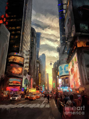 Stop Sign Digital Art - New York City Lights by Lois Bryan