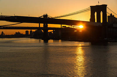 Photograph - New York City Magic - Iconic Brooklyn Bridge Sunrise by Georgia Mizuleva