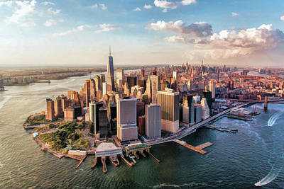 Painting - New York City Manhattan Aerial Skyline by Christopher Arndt