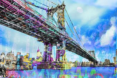 Painting - New York City Manhattan Bridge Blue by Tony Rubino