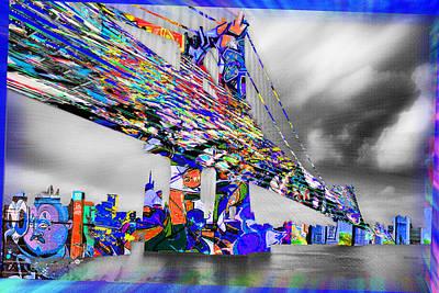 Painting - New York City Manhattan Bridge Pure Pop Blue by Tony Rubino