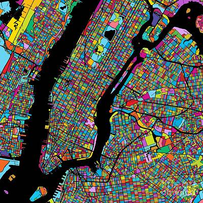 New York City Manhattan Colorful Map Original