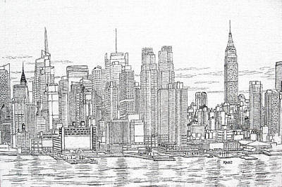 Empire State Building Drawing - New York City - Manhattan Skyline by Mike Rabe