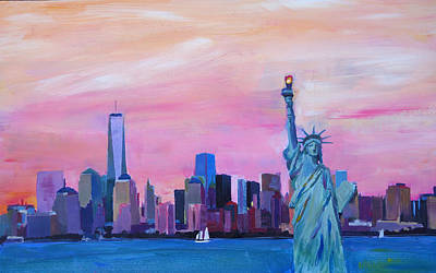 Statue Of Liberty At Night Painting - New York City - Manhattan Skyline With Downtown World Trade Center One And Statue Of Liberty by M Bleichner