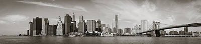 Brooklyn Bridge Photograph - New York City - Manhattan Waterfront Panorama - Vintage 2 by Thomas Richter
