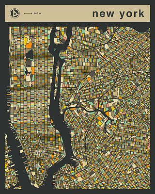 New York Map Digital Art - New York City Map by Jazzberry Blue