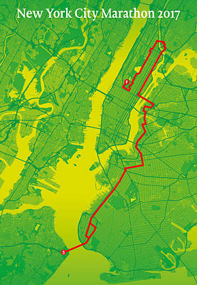 Running Digital Art - New York City Marathon #2 by Big City Artwork