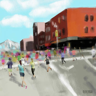 Nyc Painting - New York City Marathon by Beverly Brown