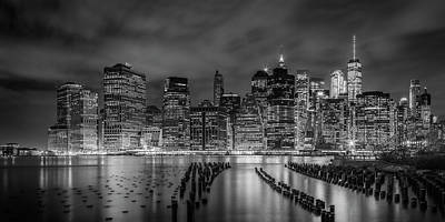 Photograph - New York City Monochrome Night Impressions - Panoramic by Melanie Viola