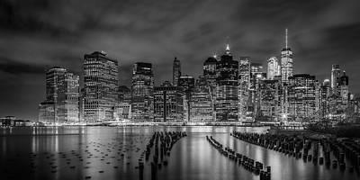 Photograph - New York City Monochrome Night Impressions - Panoramic by Melanie Viola