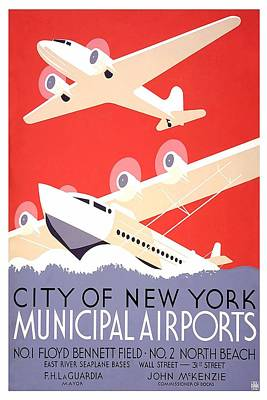 Royalty-Free and Rights-Managed Images - New York City Municipal Airports - Vintage Illustrated Poster by Studio Grafiikka