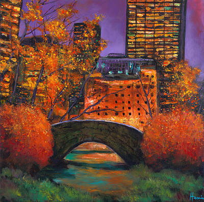 Autumn Scene Painting - New York City Night Autumn by Johnathan Harris