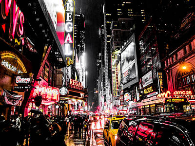 New York Signs Photograph - New York City Night II by Nicklas Gustafsson