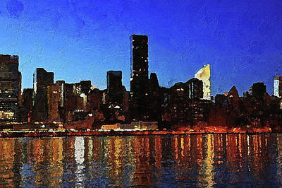 Digital Art - New York City Night Lights by PixBreak Art