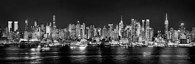 Panoramic Photograph - New York City Nyc Skyline Midtown Manhattan At Night Black And White by Jon Holiday