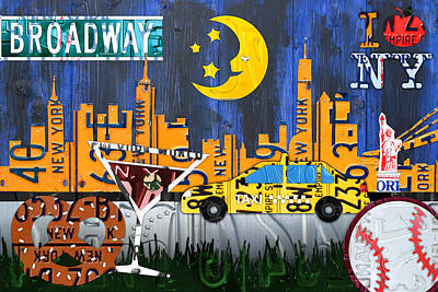 Brooklyn Bridge Mixed Media - New York City Nyc The Big Apple License Plate Art Collage No 1 by Design Turnpike