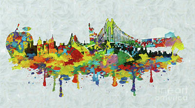 Multicolored Digital Art - New York City Panorama by Stefano Senise