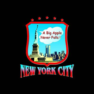 Tapestry - Textile - New York City Big Apple - Tshirt Design by Art America Gallery Peter Potter