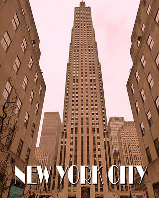 Photograph - New York City Poster - Rockefeller Center by Art America Gallery Peter Potter