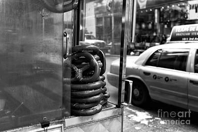 Pretzels Photograph - New York City Pretzels Mono by John Rizzuto