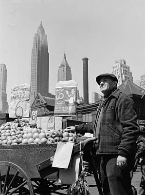 New York City, Push Cart Fruit Vendor Art Print by Everett