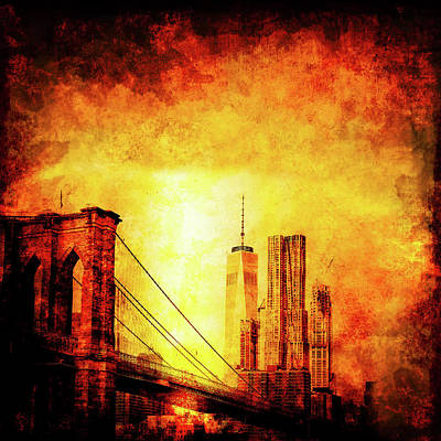 Brooklyn Bridge Mixed Media - New York City by Ractapopulous